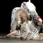 lady with mini and zebra